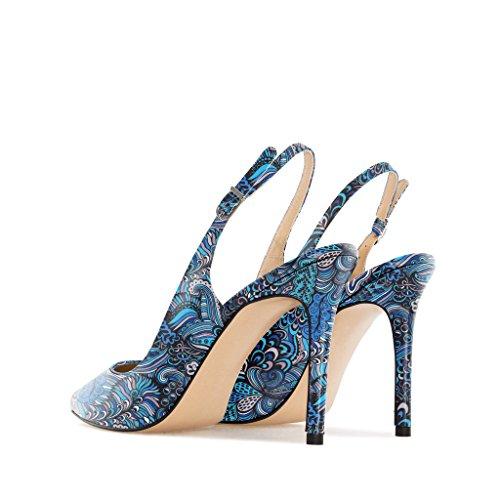 Damenschuhe Übergröße Blue High Damen Pumps mit EDEFS Mix Schuhe Slingback Heel Absätzen Hohen gx6XAYq
