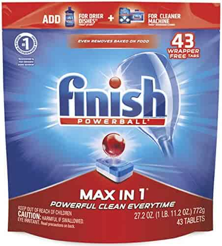 Finish - Max in 1 - 43ct - Dishwasher Detergent - Powerball - Dishwashing Tablets - Dish Tabs - Packaging May Vary