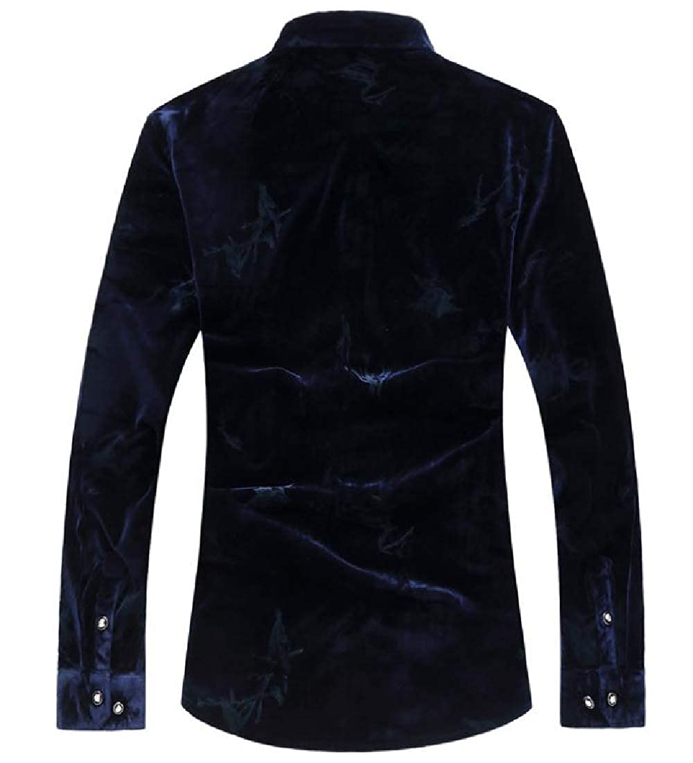 Abetteric Mens Thickening Oversized Pleuche Long Sleeves Dress Shirt