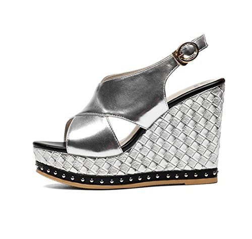 De Plata Cuña Correa Plata Verano Sandalias Femeninas Libre Tacón blanco Al Aire Moda Confort Zapatos qaEwXO