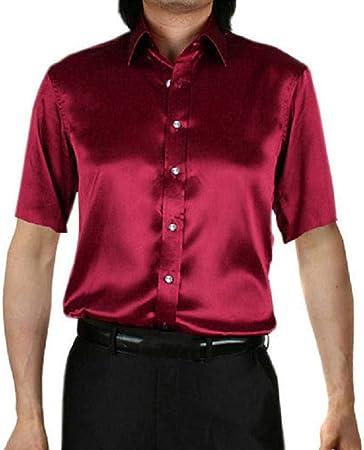 CSDM Camisa de Hombre Hombres Camisas de Vestir de Esmoquin de Seda Lisa Color sólido Manga Corta Verano Hombre Camisetas Tops Ajuste Suelto Cuello Abotonado Botón Abajo Verano: Amazon.es: Hogar
