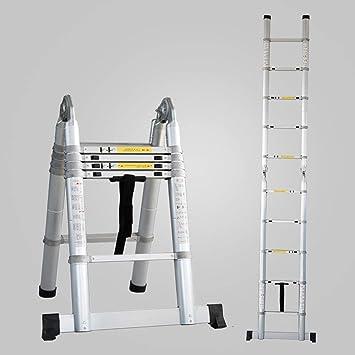 ACZZ Escalera telescópica de aluminio, extensión telescópica tipo A Escalera de ingeniería multiusos para decoración exterior interior portátil compacta: Amazon.es: Bricolaje y herramientas