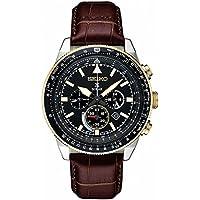 Seiko Men's Prospex Solar Chronograph With Brown Leather Strap