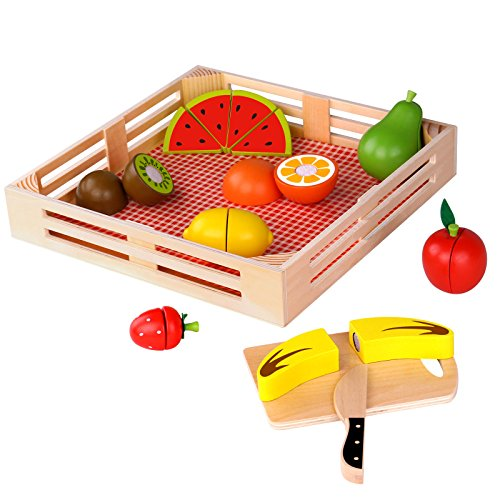 Timy Wooden Cutting Fruit Set Play Food Kitchen Accessory Pr