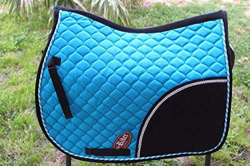 Horse All Purpose Cotton Quilted ENGLISH SADDLE PAD Trail Turquoise Black (English Trail Saddle)