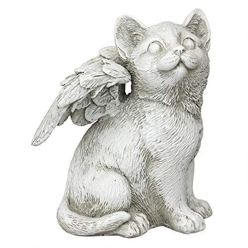 Design Toscano LY7154051 Loving Friend Cat Angel Pet Memorial Statue, Medium, Antique Stone Finish (Garden Statues Cat)