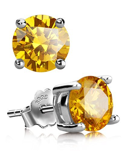 UHIBROS Sterling Silver Birthstone Stud Earrings Round Cubic Zirconia Diamond November