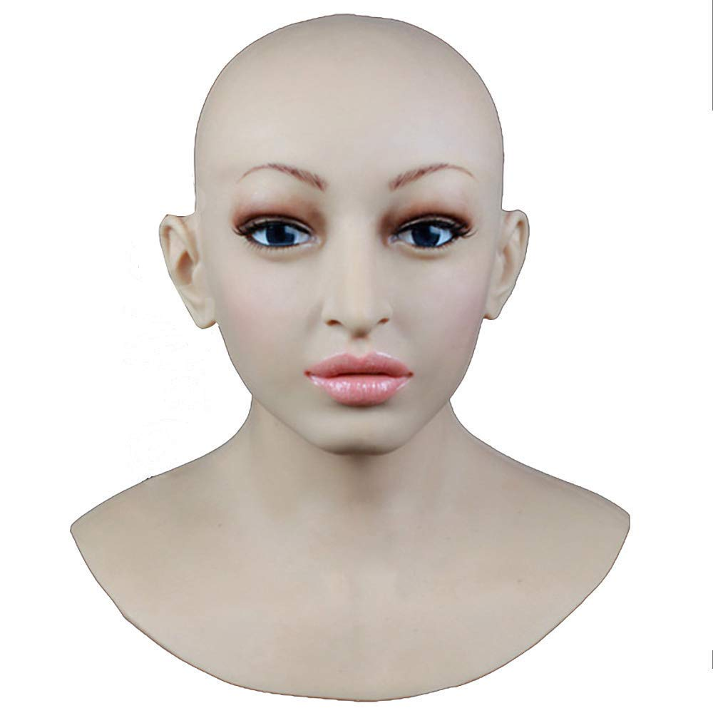 TWO Sexy Silikon Maske Frauen Pretty Halloween Weißnachtsmasken Angel Face Cosplay Male zu Frauen für Crossdresser Transgender Shemale mit Safe Medical Größe Silikon Rubber