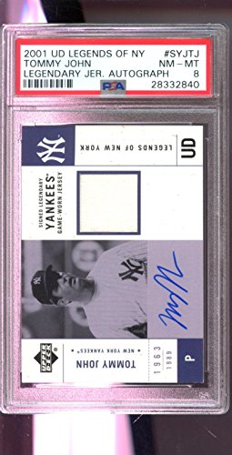 Legends Auto Card - 2001 Upper Deck UD Legends of New York Tommy John Jersey Signed Autograph AUTO Card PSA