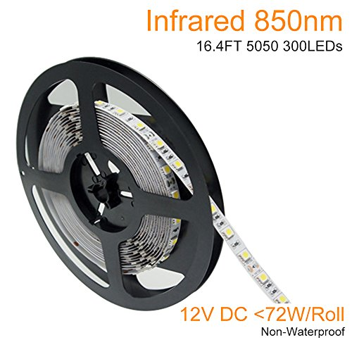 LightingWill DC12V 5M/16.4ft 72W SMD5050 300LEDs IR Infrared 850nm Tri-chip White PCB Flexible LED Strips 60LEDs 14.4W/M Non-Waterproof for Multitouch Screen, Night Light Application IR850NM5050X300N (Non Chip)
