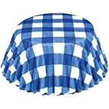 Fox Run 6918 Gingham Bake Cups, Standard, 50 Cups, Blue