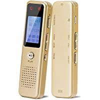 Digital Voice Recorder, AURTEC 8GB Portable Audio Sound Dictaphone with Metal Skins, Rechargeable Battery, Voice Activated, Double Microphone and MP3 Player for Lectures, Meetings, Gold