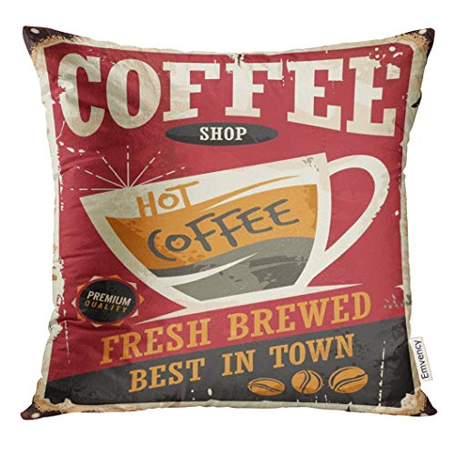 over Coffee Retro Tin Sign on Red Perfect for Cafe Bar Interior Promotional Material Vintage with Cup Decorative Pillow Case Home Decor Square 18x18 Inches Pillowcase ()