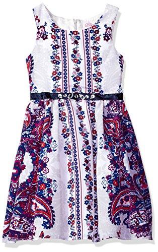 Bloome Vestido sin Mangas con Estampado Floral y Cachemira Grande para niñas con Detalle de cinturón con Joyas,...