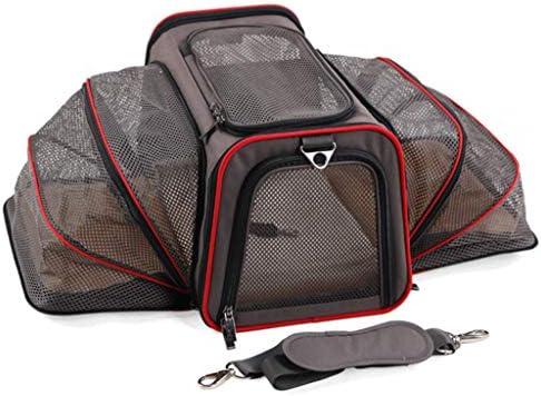 ペットのバックパック、調節可能な二重アウトリーチ、旅行のための猫犬の遠出の携帯用ケースのハイキング屋外,Gray