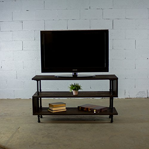 OS Home and Office PTV-BS Industrial TV Stand, Black Steel Combo with Dark Brown Stained (Pedestal Plant Stand Finish)