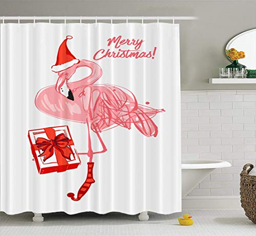 Ansote Watercolor Cute Santa Shower Curtain Set, Pink Winter Flamingo Santa Hat with Merry Christmas Fabric Shower Curtain,Polyester Curtains Bath Curtain Waterproof Curtains for Bathroom,72x78 Inch