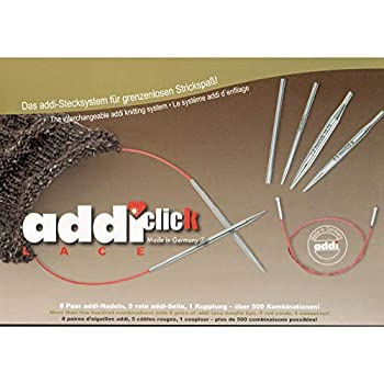 Image of Addi Click Rocket Lace Short Tip Interchangeable Circular Needle Set with Exclusive Addi Red Needle Gauge with Laughing Hens Logo Knitting Needles