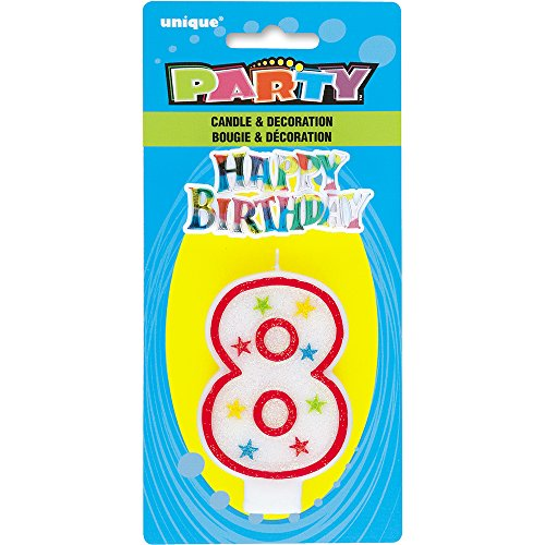 Glitter Number 8 Birthday Candle & Happy Birthday Cake Topper  candles 80 | 80 Candles for Winnie 518 S4KpNIL