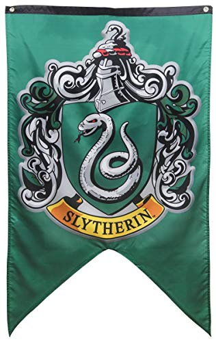 Hogwarts School of Witchcraft Banner for Harry Potter Wizardry Flag Poster Wall Decals Magical Wizard School Crest Party Decoration (Slytherin) (Slytherin Flag)