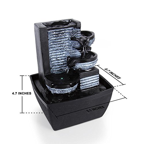 Portable Waterfall Fountain: SereneLife 3-Tier Desktop Electric Water Fountain Decor W