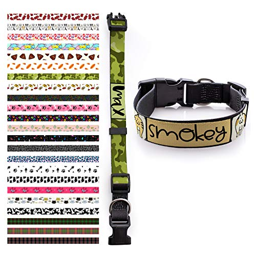 Personalized Dog Collar - Custom Dog collars /w Pet Name & Phone Number for Large Medium Small Dog & Cat - Girl Boy Collars Adjustable Sizes with Safe Metal Buckle - 22 Different Patterns ()
