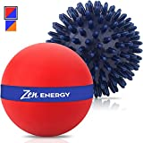 Epitomie Fitness Zen Energy Pro Massage Balls - Large Ball for Massage & Large Spiky Reflexology Ball Makes Perfect Roller Ball Massager Set for Self Massages & Myofascial Release