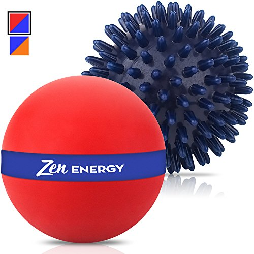 Zen Energy Pro Massage Balls - Large Muscle Roller Ball & Large Spiky Reflexology Ball - Perfect Massager For Deep Tissue Self Massage, Trigger Point Therapy, Myofascial Release, Yoga - Red & Navy