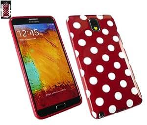 Emartbuy® Samsung Galaxy Note 3 Lcd Protector de Pantalla Gel Y Lunares De La Piel Cubierta / Carcasa Rojo / Blanco