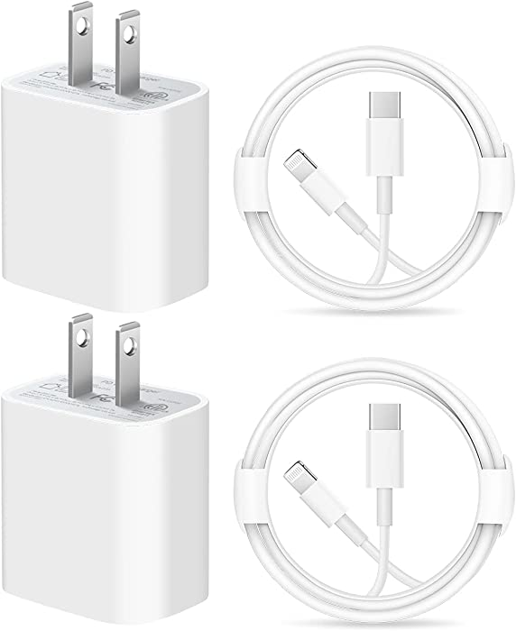iPhone Fast Charger Cable【Apple MFi Certified】 Lightning Cables 20W PD USB C Wall Charger 2-Pack 6.6 FT Fasting Charging Adapter Compatible with iPhone 12/12 Pro/Max/11/11Pro/XS/Max/XR/X/8/8Plus,iPad