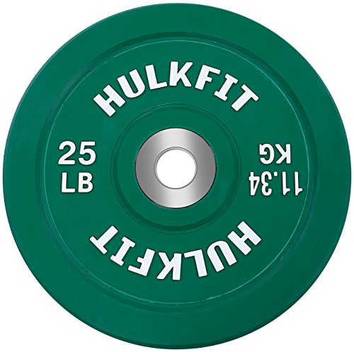 HulkFit Color Coded Olympic 2-Inch Rubber Bumper Plate with Steel Hub for Strength Training, Weightlifting and Crossfit, Single