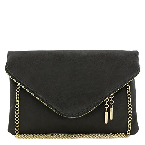 Large Envelope Clutch Bag with Chain Strap (Charcoal Grey)