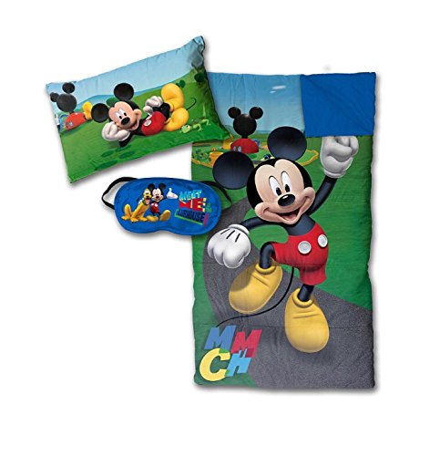 Disney Mickey Mouse 3 Piece Sleepover Set - Sleeping Bag, Pillow and Eye Mask