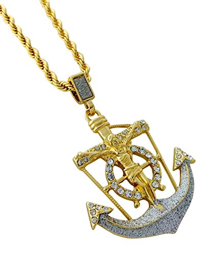 Gold Anchor Crucifix (Jesus Crucifix Anchor Pendant Necklace with 24