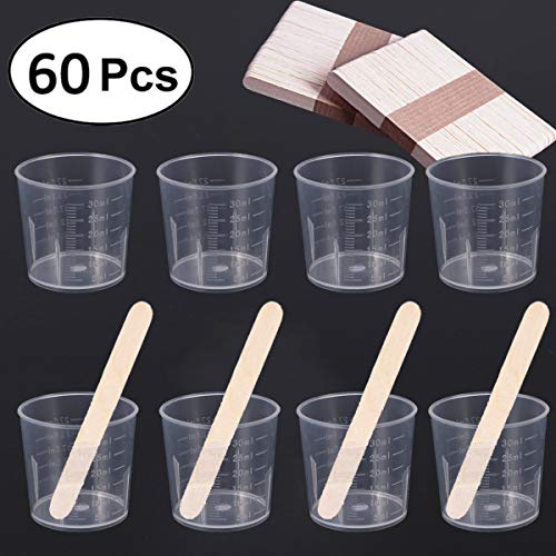 60 Pack 30ml Clear Graduated Plastic Cups Measuring Cups with 100 Pack Wood Stir Sticks for Mixing Paint, Stain, Epoxy, Resin