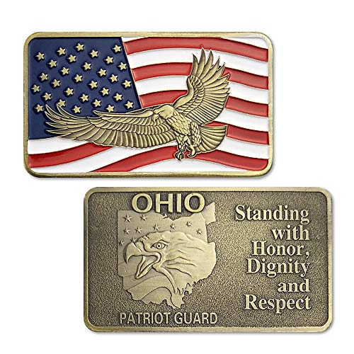 - U.S. Military Challenge Coin Bronze Bar Ohio Patriot Guard Art Coins Collectibles