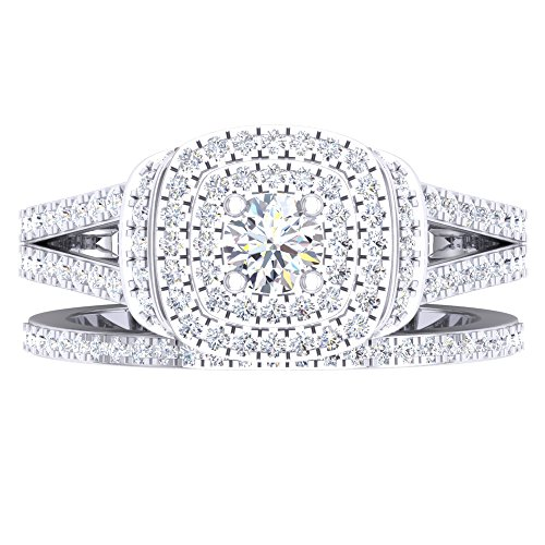 1.00 Carat (Ctw) 14K Gold Round Diamond Ladies Bridal Halo Engagement Ring With Matching Band Set 1 CT