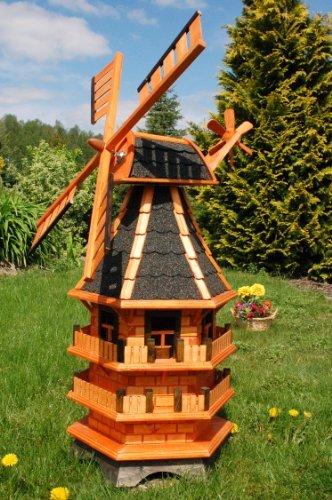 Deko-Shop-Hannusch Moulin à vent décoratif à 3 étages avec roulement à bille, bardeaux bitumés foncés et éclairage solaire 1,40 m