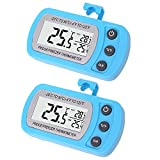 2 Pack Blue Digital Fridge Refrigerator Freezer Thermometer,Max/Min Record Function with Large LCD Display