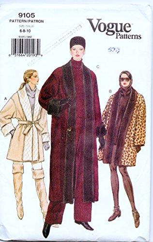 (Vogue Pattern 9105 Size 6-8-10 Petite Reversible Coat)