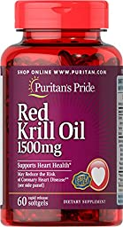 Puritan\'s Pride Maximum Strength Red Krill Oil 1500 mg (255 mg Active Omega-3)-60 Softgels