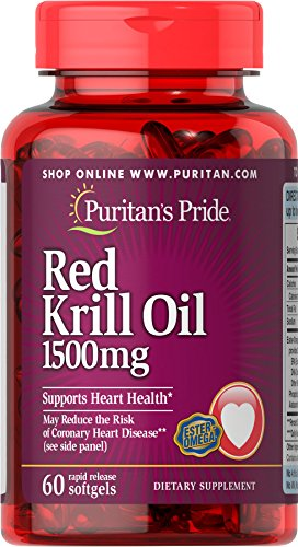 Puritan's Pride Maximum Strength Red Krill Oil 1500 mg (255 mg Active Omega-3)-60 Softgels by Puritan's Pride