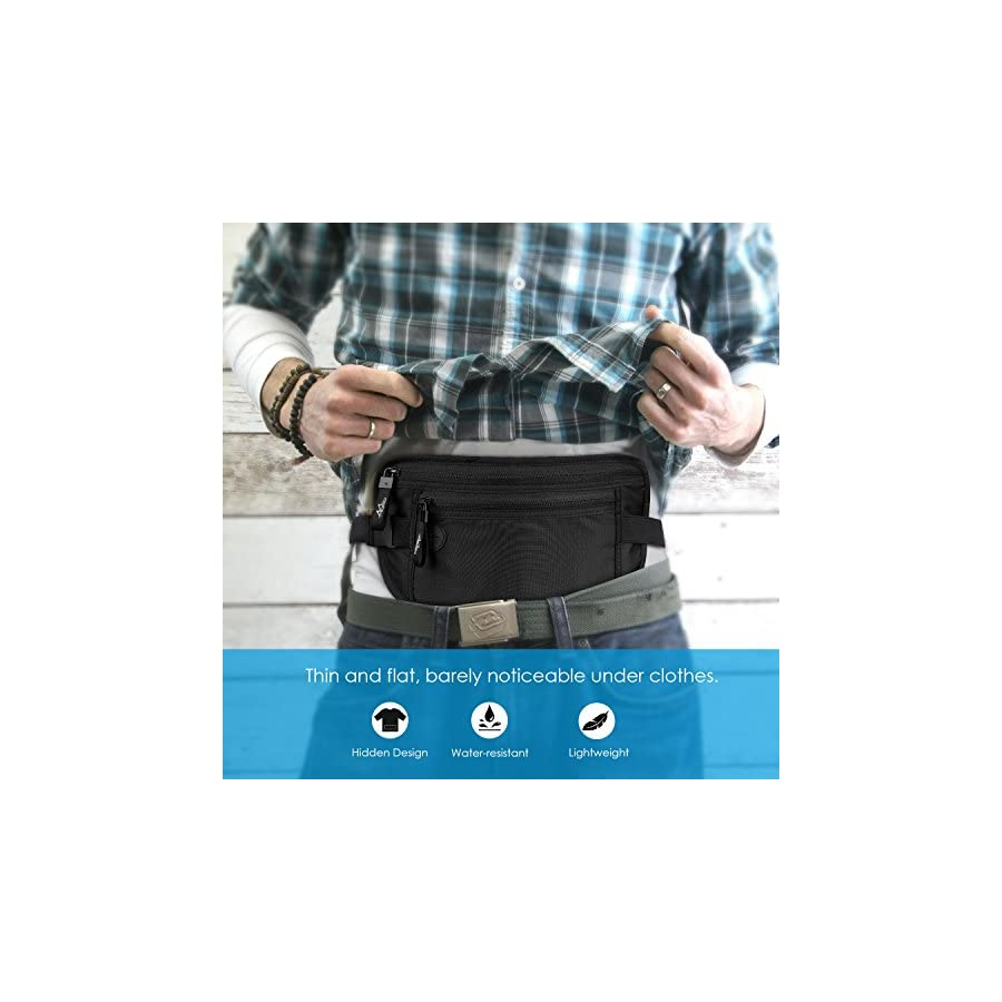 MoKo Secure Travel Money Belt, Undercover Hidden FRID Blocking Travel Wallet, Anti Theft Passport Wallets for Men & Women