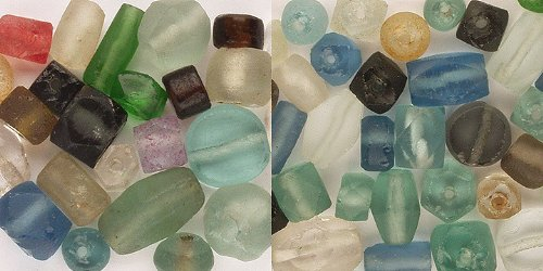 Beads - Recycled Glass - Factory Scrap, Reconstituted Beach Glass. Asst - 48+Pcs