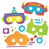 Robot Foam Mask Kits for Children to Make Decorate and Wear at Fancy Dress Party - Creative Craft Set for Kids (Pack of 5)