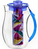 Clearly Filtered Water Bottle Vremi Fruit Infuser Water Pitcher - 2.5 liter Plastic Infusion Pitcher with Lid for Loose Leaf Tea - Large BPA Free Infuser Pitcher with Spout - 84 oz Sangria Pitcher Vodka Infuser Insert - Blue