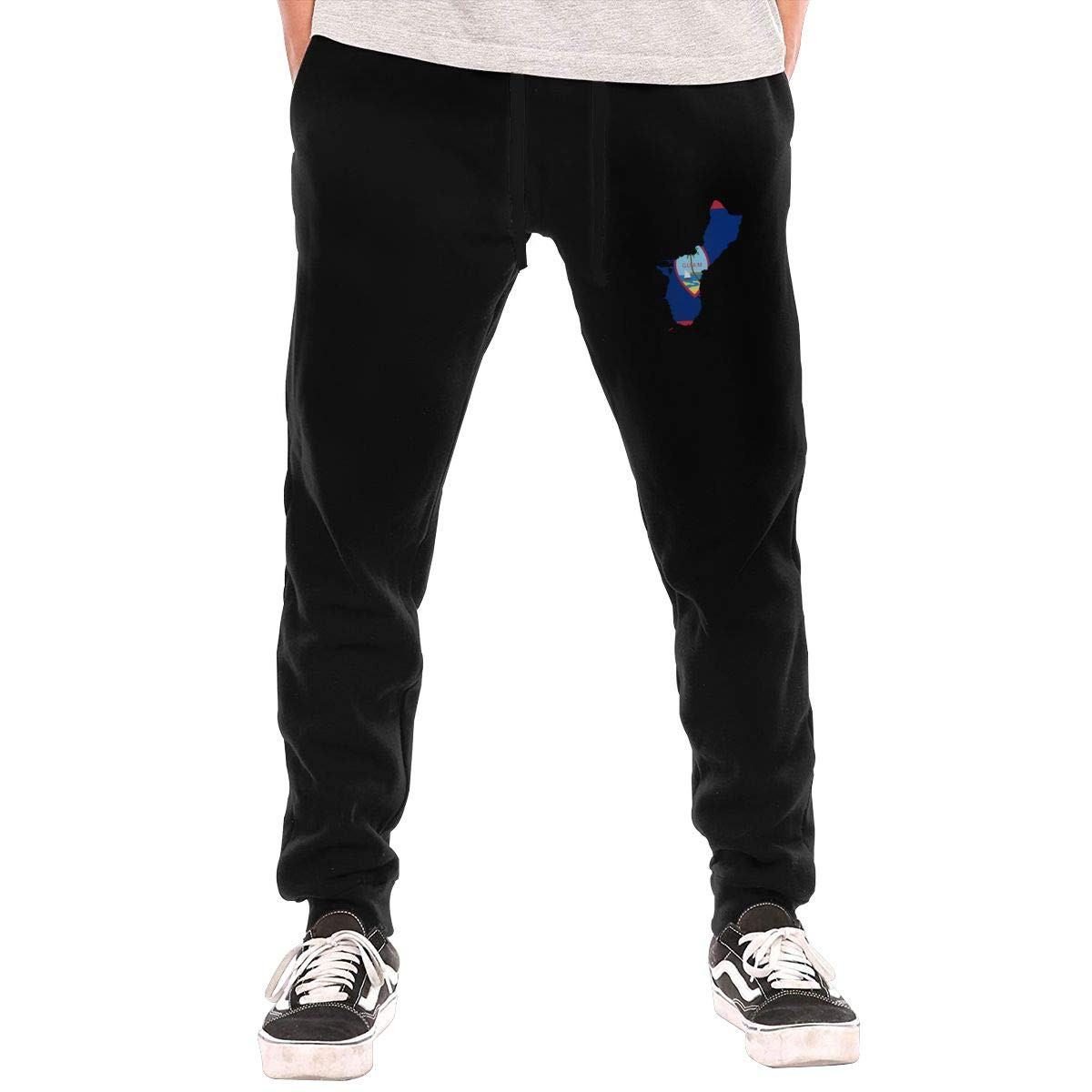 Dbou Map of Guam Flag Drawstring Waist,100/% Cotton,Elastic Waist Cuffed,Jogger Sweatpants
