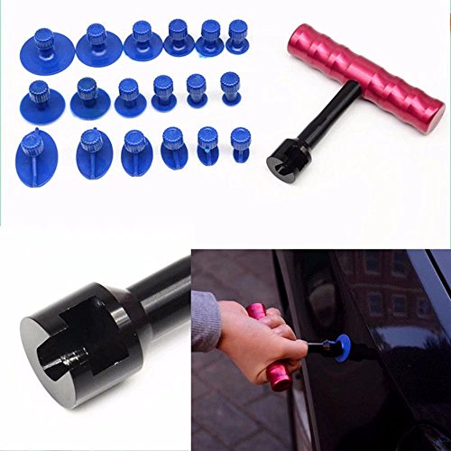 HonsCreat 18Pcs Paintless Dent Repair Car Body Repair Kit Small Red T-Bar Puller Dent Puller Kit Suction Cups Fungi Glue - Scratches To Fix How On Car Light