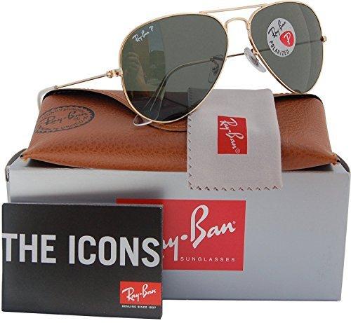 Ray-Ban RB3025 Aviator Polarized Sunglasses Shiny Gold w/Crystal Green (001/58) 3025 00158 58mm - Aviator Rb3025 001 3025 58 Ban Ray Gold Polarized