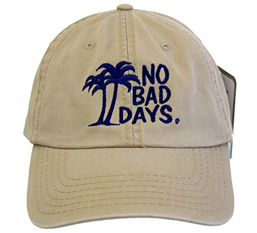 - No Bad Days Garment Washed Superior Combed Cotton Twill Six Panel Cap - Khaki